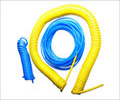 Recoiled Hoses Blue Yellow Green Black Red